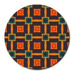 Connected Shapes In Retro Colors                         			round Mousepad by LalyLauraFLM