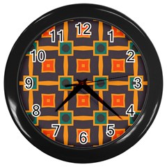 Connected Shapes In Retro Colors                         			wall Clock (black) by LalyLauraFLM