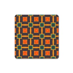Connected Shapes In Retro Colors                         magnet (square) by LalyLauraFLM