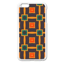 Connected Shapes In Retro Colors                         apple Iphone 6 Plus/6s Plus Enamel White Case by LalyLauraFLM