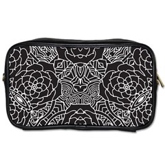 Petals In Black White, Bold Flower Design Toiletries Bag (two Sides) by Zandiepants