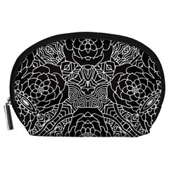 Petals In Black White, Bold Flower Design Accessory Pouch (large) by Zandiepants