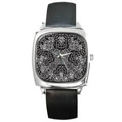 Mariager, Bold Flower Design, Black & White Square Metal Watch by Zandiepants