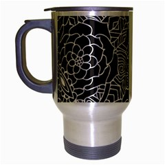 Mariager, Bold flower design, black & white Travel Mug (Silver Gray) by Zandiepants