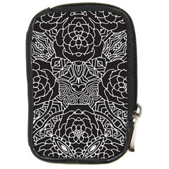 Mariager, Bold Flower Design, Black & White Compact Camera Leather Case by Zandiepants