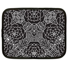 Mariager, Bold Flower Design, Black & White Netbook Case (xxl) by Zandiepants
