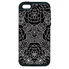 Mariager, Bold Flower Design, Black & White Apple Iphone 5 Hardshell Case (pc+silicone) by Zandiepants