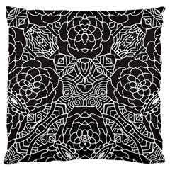 Mariager, Bold Flower Design, Black & White Large Cushion Case (two Sides) by Zandiepants