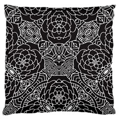 Mariager, Bold Flower Design, Black & White Large Flano Cushion Case (two Sides) by Zandiepants