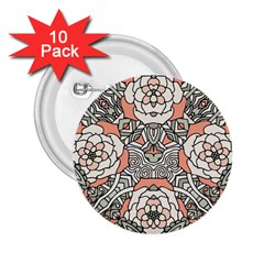 Petals In Vintage Pink, Bold Flower Design 2 25  Button (10 Pack) by Zandiepants