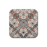 Petals in Vintage Pink, Bold Flower Design Rubber Coaster (Square) Front