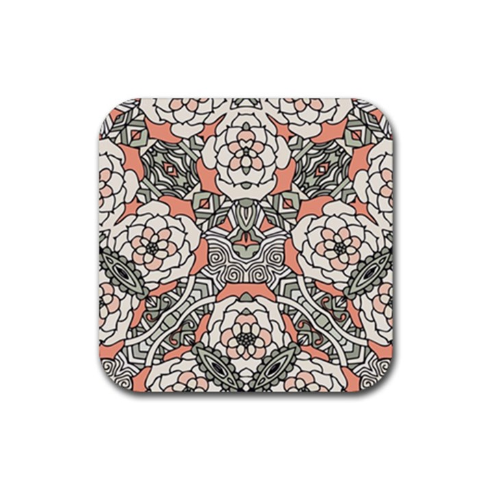 Petals in Vintage Pink, Bold Flower Design Rubber Coaster (Square)