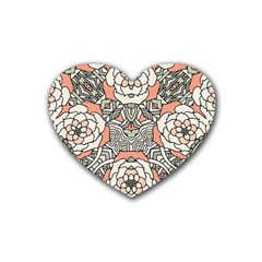 Petals In Vintage Pink, Bold Flower Design Rubber Coaster (heart) by Zandiepants