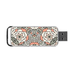 Petals In Vintage Pink, Bold Flower Design Portable Usb Flash (one Side) by Zandiepants