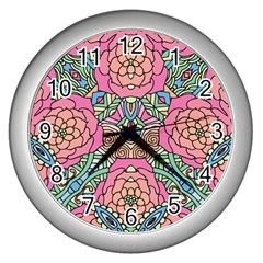 Petals, Carnival, Bold Flower Design Wall Clock (silver) by Zandiepants