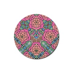 Petals, Carnival, Bold Flower Design Rubber Coaster (round) by Zandiepants