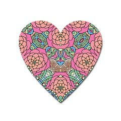Petals, Carnival, Bold Flower Design Magnet (heart) by Zandiepants