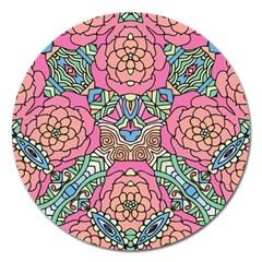 Petals, Carnival, Bold Flower Design Magnet 5  (round) by Zandiepants