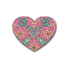 Petals, Carnival, Bold Flower Design Rubber Coaster (heart) by Zandiepants