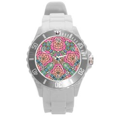 Petals, Carnival, Bold Flower Design Round Plastic Sport Watch (l) by Zandiepants