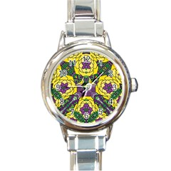 Petals In Mardi Gras Colors, Bold Floral Design Round Italian Charm Watch by Zandiepants