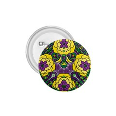Petals In Mardi Gras Colors, Bold Floral Design 1 75  Button by Zandiepants