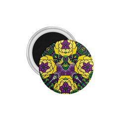 Petals In Mardi Gras Colors, Bold Floral Design 1 75  Magnet by Zandiepants