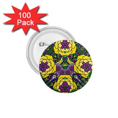 Petals In Mardi Gras Colors, Bold Floral Design 1 75  Button (100 Pack)  by Zandiepants
