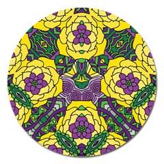 Petals In Mardi Gras Colors, Bold Floral Design Magnet 5  (round) by Zandiepants