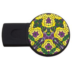 Petals In Mardi Gras Colors, Bold Floral Design Usb Flash Drive Round (2 Gb) by Zandiepants