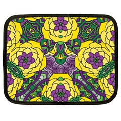 Petals In Mardi Gras Colors, Bold Floral Design Netbook Case (xl) by Zandiepants