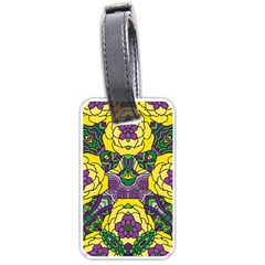 Petals In Mardi Gras Colors, Bold Floral Design Luggage Tag (one Side) by Zandiepants