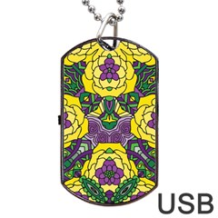 Petals In Mardi Gras Colors, Bold Floral Design Dog Tag Usb Flash (two Sides) by Zandiepants