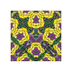 Petals In Mardi Gras Colors, Bold Floral Design Acrylic Tangram Puzzle (4  X 4 ) by Zandiepants