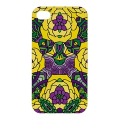 Petals In Mardi Gras Colors, Bold Floral Design Apple Iphone 4/4s Premium Hardshell Case by Zandiepants