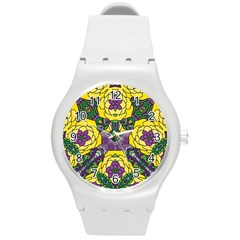 Petals In Mardi Gras Colors, Bold Floral Design Round Plastic Sport Watch (m) by Zandiepants
