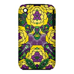 Petals in Mardi Gras colors, Bold Floral Design Apple iPhone 3G/3GS Hardshell Case (PC+Silicone) by Zandiepants