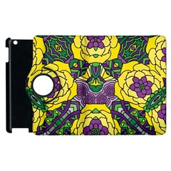 Petals In Mardi Gras Colors, Bold Floral Design Apple Ipad 3/4 Flip 360 Case by Zandiepants
