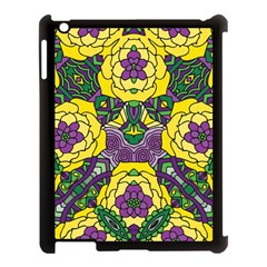 Petals In Mardi Gras Colors, Bold Floral Design Apple Ipad 3/4 Case (black) by Zandiepants