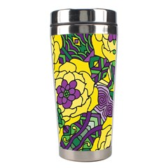 Petals In Mardi Gras Colors, Bold Floral Design Stainless Steel Travel Tumbler by Zandiepants