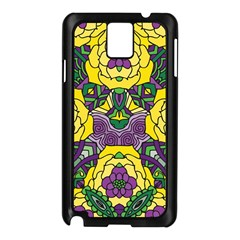 Petals In Mardi Gras Colors, Bold Floral Design Samsung Galaxy Note 3 N9005 Case (black) by Zandiepants
