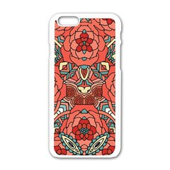 Petals In Pale Rose, Bold Flower Design Apple Iphone 6/6s White Enamel Case by Zandiepants