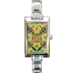 Petals, Retro Yellow, Bold Flower Design Rectangle Italian Charm Watch by Zandiepants