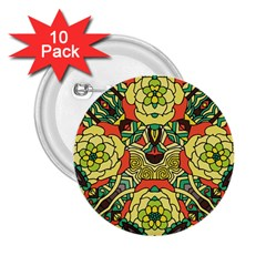 Petals, Retro Yellow, Bold Flower Design 2 25  Button (10 Pack) by Zandiepants