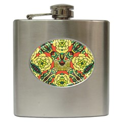 Petals, Retro Yellow, Bold Flower Design Hip Flask (6 Oz) by Zandiepants