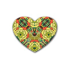 Petals, Retro Yellow, Bold Flower Design Rubber Coaster (heart) by Zandiepants