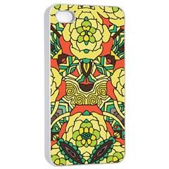 Petals, Retro Yellow, Bold Flower Design Apple Iphone 4/4s Seamless Case (white) by Zandiepants