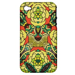 Petals, Retro Yellow, Bold Flower Design Apple Iphone 4/4s Hardshell Case (pc+silicone) by Zandiepants