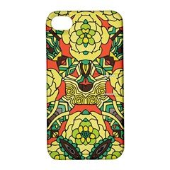Petals, Retro Yellow, Bold Flower Design Apple Iphone 4/4s Hardshell Case With Stand by Zandiepants
