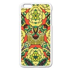 Petals, Retro Yellow, Bold Flower Design Apple Iphone 6 Plus/6s Plus Enamel White Case by Zandiepants